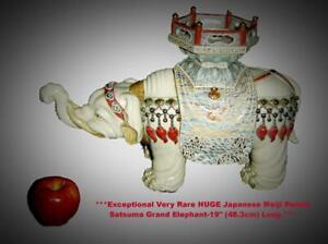 Antique Japan Meiji HUGE Satsuma Taizan Yohei IX Grand Elephant Model Figurine.
