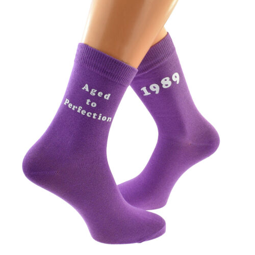 Aged to Perfection 1989 Printed Design Ladies PURPLE Socks 30th Birthday 2019