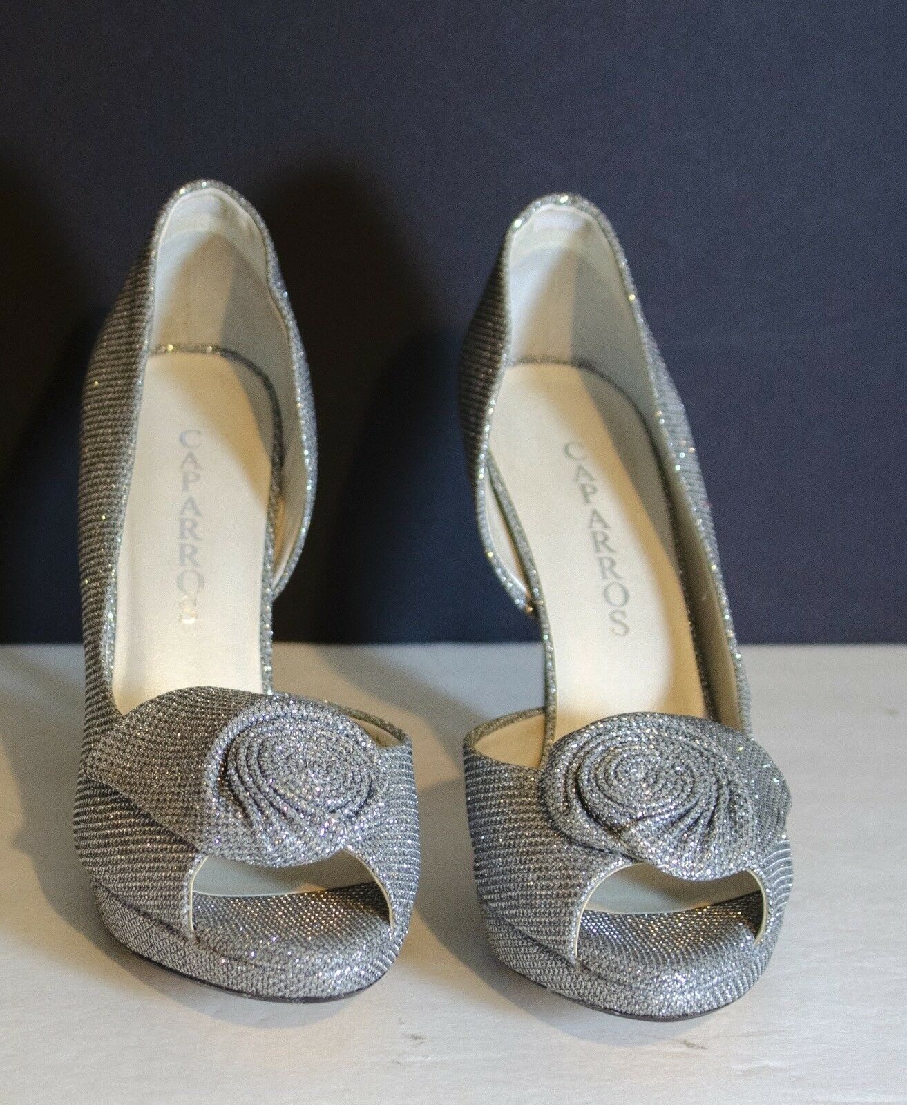 Caparros Women's Baldwin Dress Silver Sparkle Platform Pumps Size8M