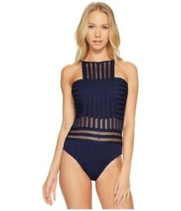 catch exclusive shoes great fit Details about Kenneth Cole Tough Luxe High Neck Mio Midnight Women  Swimsuits One Piece XL
