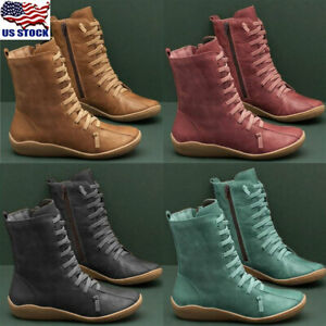 womens ladies leather arch support boots casual zipper