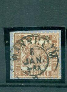 Baden-Wappen-im-Quadrat-Nr-20-a-gestempelt-auf-Briefstueck