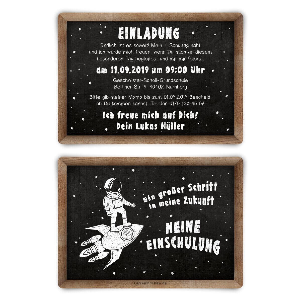 Einladungskarten Einschulung individuell Texte Einladungen - Astronaut