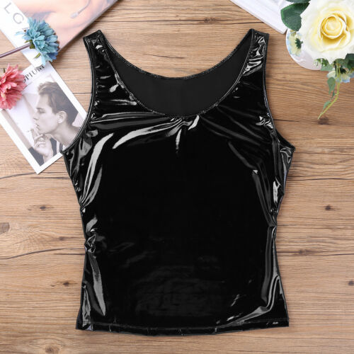 Mens Faux Leather Sleeveless Tank Top Vest Muscle Tight T-shirts Costume Club