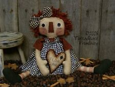 PATTERN Primitive Raggedy Ann Annie Doll w// Pigtails /& Bee Hive Bee Skep Ornie