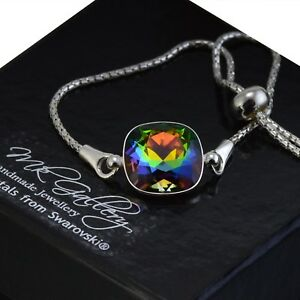 925-Silver-Adjustable-Bracelet-12mm-Vitrail-Medium-Crystals-from-Swarovski
