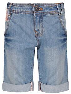 Ages-8-15-Girls-Bermuda-Jeans-Floral-Shorts-Knee-Length-Mid-Blue-Denim