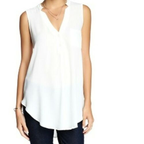 Lush White Button V-Neck One Pocket Tank Top NEW