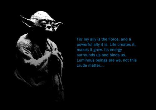1 FREE//1 GRATUIT *MOVIE STAR WARS YODA QUOTE POSTER A4 PLASTIFIE-LAMINATED