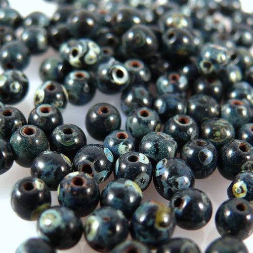 628 100 noble perles de verre boules perles 4mm noir marbré bastelperlen