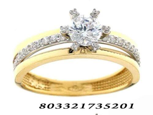 Anello oro 18 kt solitario zirconia brillanti fantasy regalo matrimonio donna