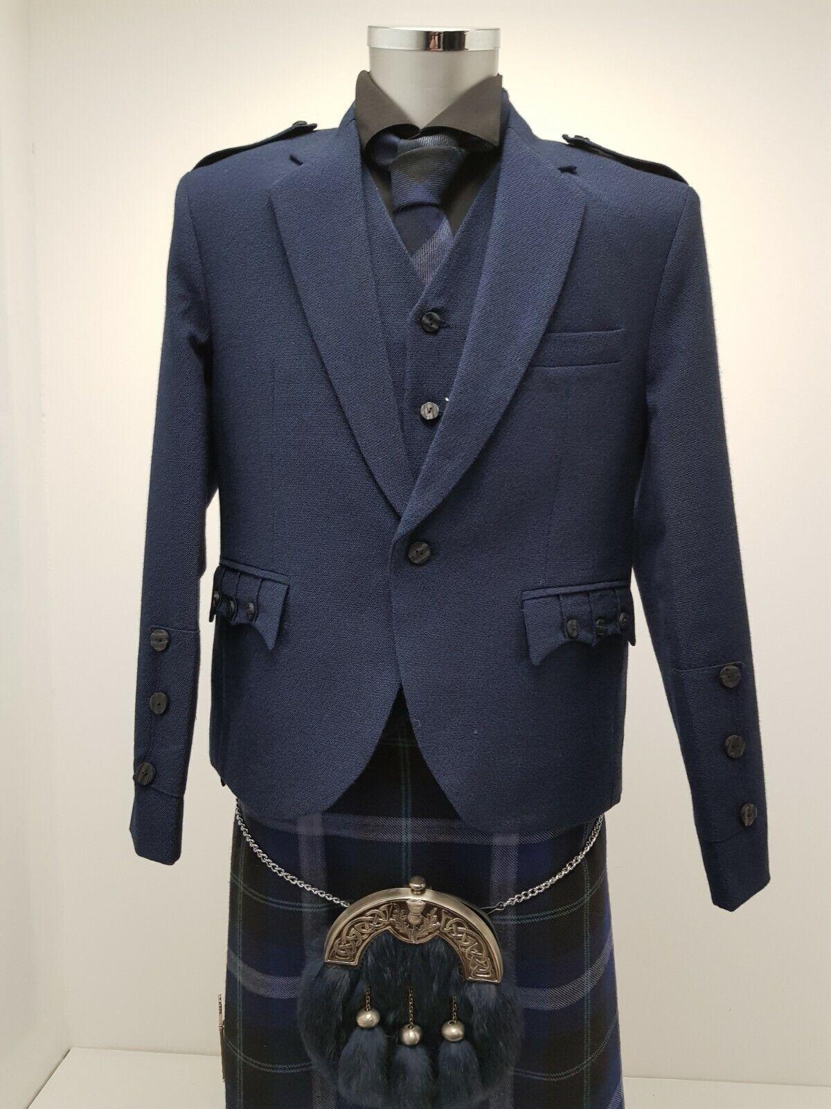 Navy Arrochar Tweed Crail Kilt Jacket & Vest Made In Scotland in Stock New Line