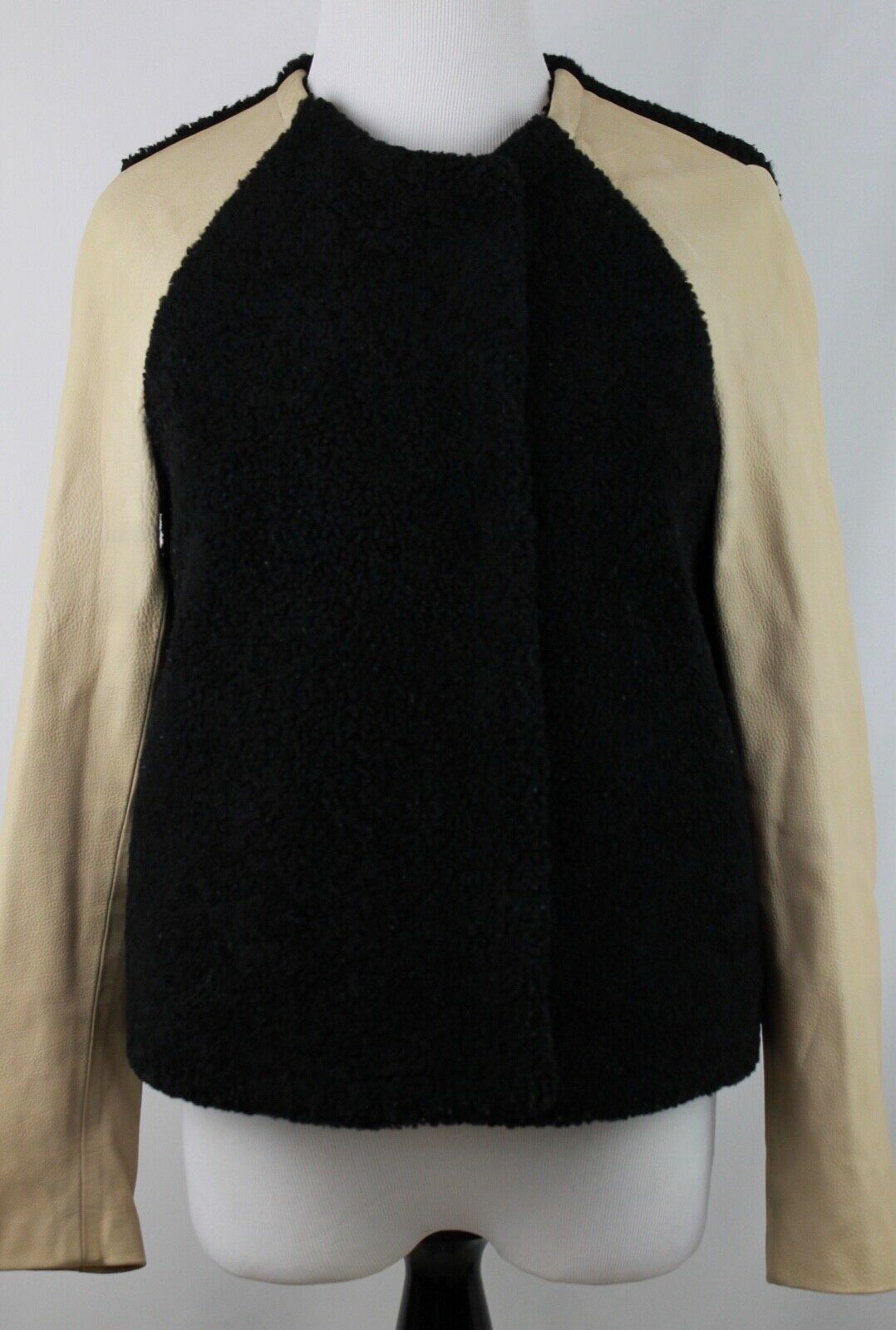 3.1 Philip Lim Genuine Reverse Shearling & Leather Black Modern Wrap Jacket 2