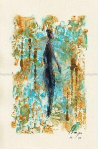 Llop - momentos especiales#2 'mujer paseando' - acrílico s papel original 24x16