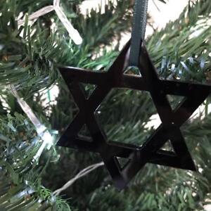 Negro-Estrella-de-David-Adornos-Para-Arbol-de-Navidad-amp-Verde-Cinta-Pack-10