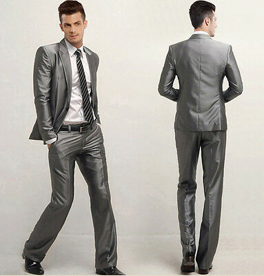 Mens Man Formal Suit Silver Slim Fit One Button Dress Suits Set Jacket Pants