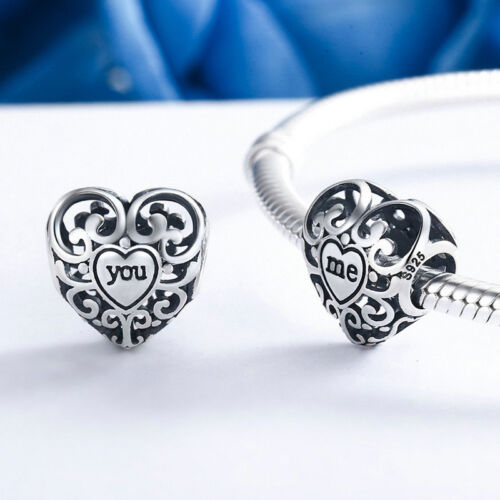 """Luxury Jewelry Solid 925 Sterling Silver /""""me/"""" Openwork Love Heart Charm Bead"""