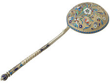Russian Silver Gilt and Polychrome Cloisonné Enamel Spoon - Antique Circa 1905