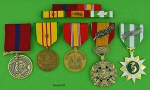 MARINE-CORPS-VIETNAM-5-MEDALS-amp-MOUNTED-RIBBON-BAR-1-Campaign-Star-USMC-T1