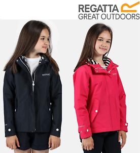 Regatta Kids Bibiana Waterproof Hooded Zip Jacket Girls Boys Rain Coat