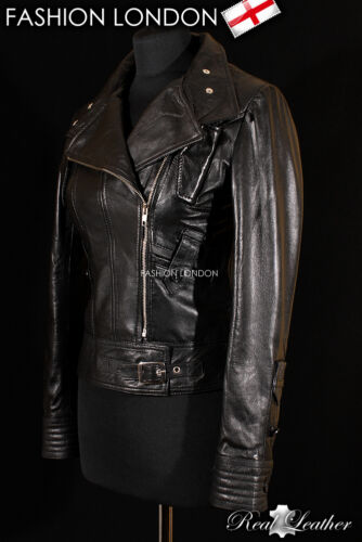 ESSENCE Black Ladies Biker Style Real Lambskin Designer Short Leather Jacket
