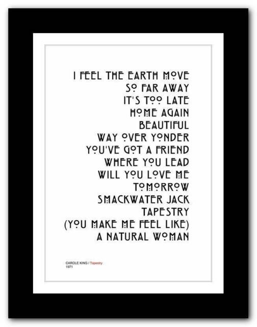 ❤ CAROLE KING - Tapestry ❤ typography poster art print - A3 A2 A1 A4