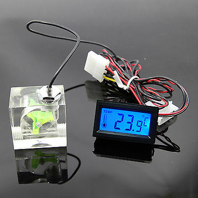 Water Cooling 3 Way FlowMeter With Thermometer Blue LED G1/4 Thread USA Seller