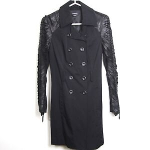 Strap Black Bebe Coat Trench Breasted W Knip Detaljer up Leather Double gzZnzp6