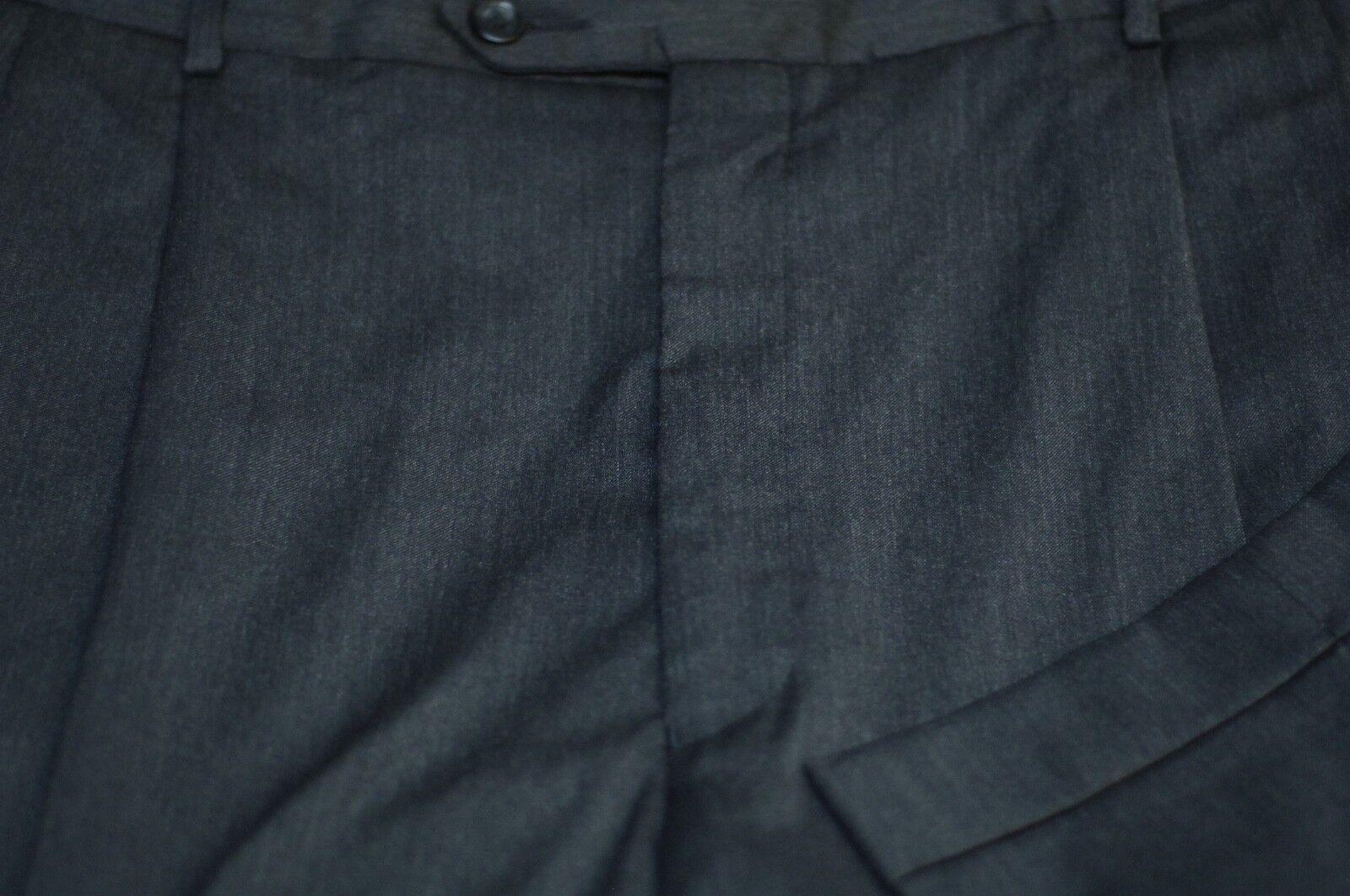 Jos a Riva men Firma grey Scuro Lana Vestito Pieghettato Pantaloni 38 x 28