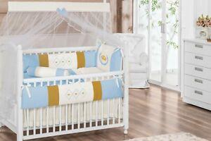 Royal Crown Theme Blue Gold Baby Boy 6pc Nursery Crib Bedding Set Embroidered Ebay