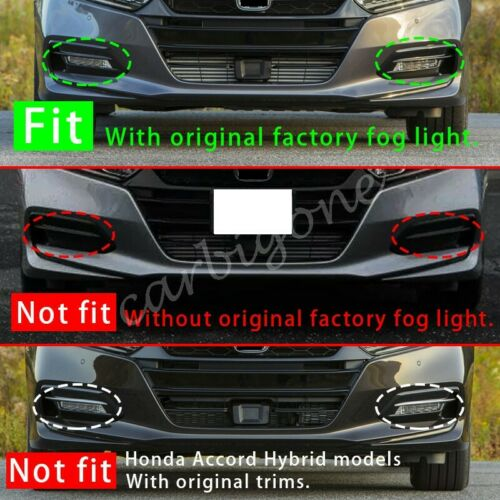 Chrome Front Rear Fog Light Cover Trims Overlay For Honda Accord 2018-2020 Parts