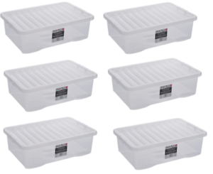 Image Is Loading 6 X 32 Litre Plastic Storage Box Clear