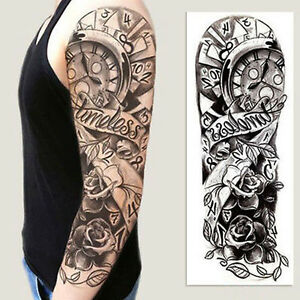 Tatuajes Tribales En Brazo Completo full arm flower rose clocks tribal tattoo temporary stickers body
