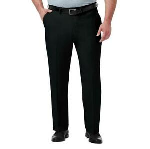 Haggar-Premium-No-Iron-Pants-Classic-Fit-Expandable-Stretch-Waist-Big-Tall-Black