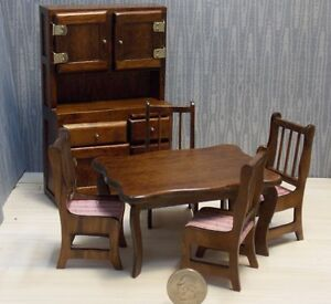 Dollhouse Miniature Dining Table Chairs W Hutch 1 12 inc scale H6