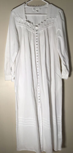 Eileen West White Cotton Long Sleeve Nightgown  Si