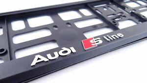 Audi-S-Line-2x-Kennzeichenhalter-3D-I-I-Neu-hit-Kennzeichenhalterung-I