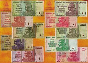 Details About 10 Zimbabwe Banknotes Trillion 100 Million 50 Billion 20 Dollars Currency Set