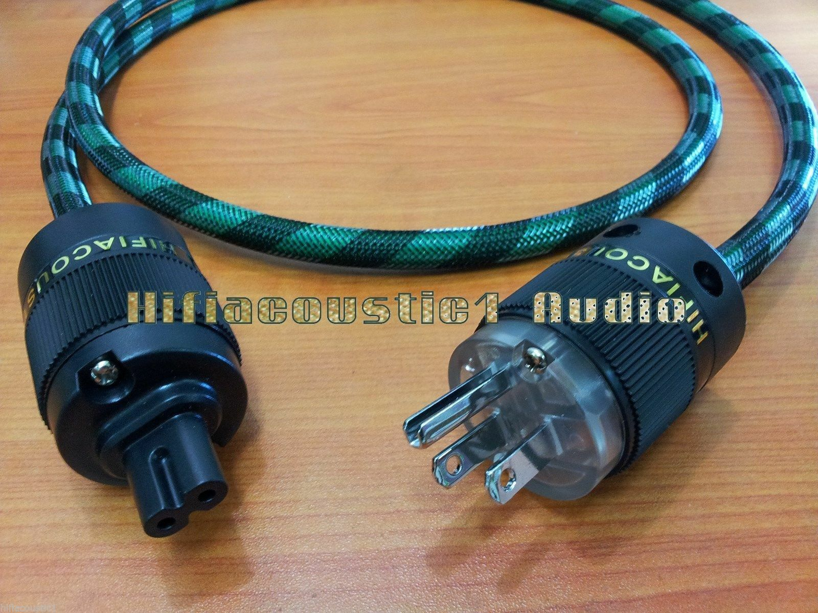 Hifi audio 1.5M US Mains AC Power Cord Rhodium Plug figure 8 IEC C7 female