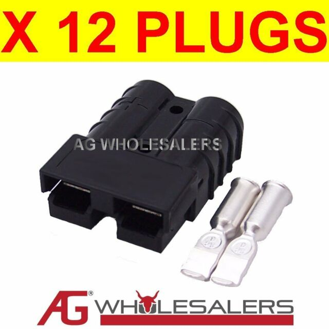 12 x BLACK ANDERSON STYLE 50 AMP PLUG CONNECTORS JOINER 12V DUAL BATTERY 50a