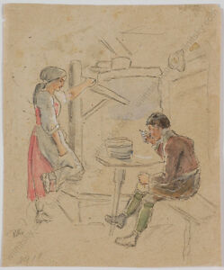 034-Tyrolean-Peasant-Scene-034-by-Eduard-Ritter-1808-1853-drawing-1830-40