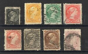 Canada-Serie-Of-8-Cancelled-Stamps-N-27-34-Value