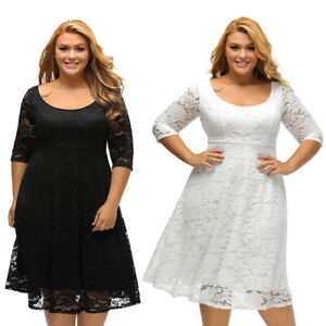 Plus-Size-Women-Fashion-White-Floral-Lace-Sleeved-Fit-and-Flare-Curvy-Dress