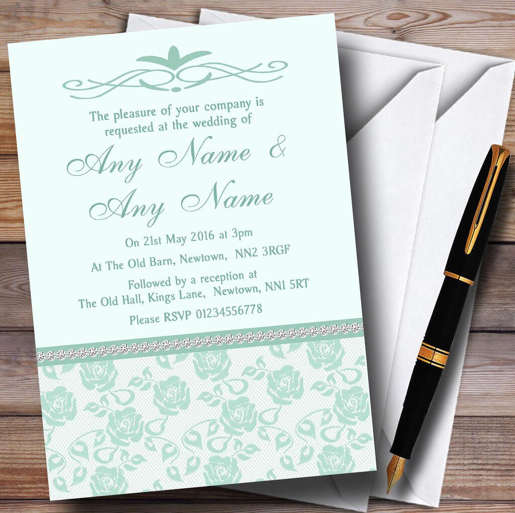 Pretty Mint Grün & Sage Floral Diamante Personalised Wedding Invitations