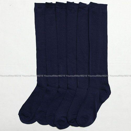 12 Pairs Knee High Lot Uniform School Socks Black Navy White Kid/'s Girls 4-6
