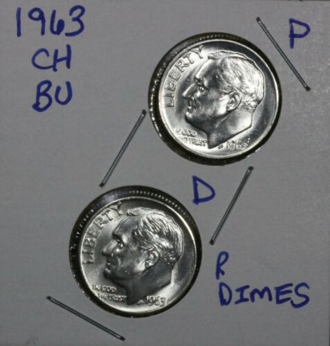 90/% Silver US Coin FREE SHIPPING 1963 P /& D Roosevelt Dimes 10C CH BU LUSTER