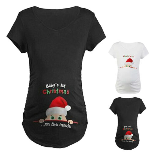 Mom Baby/'s 1st Christmas On The Inside Maternity Pregnant T-Shirt Tee Tops M-3XL