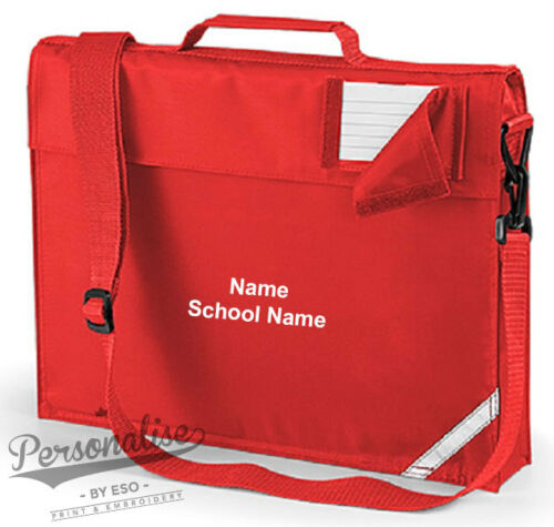 Personalised SCHOOL BOOK BAG with Strap Name School Class Academy QD457 Quadra