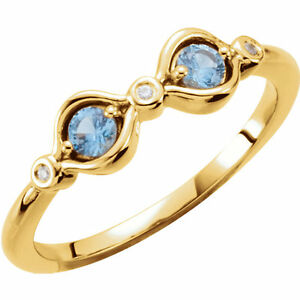 10K or 14K Solid Gold Mother/'s Day Ring 1 to 7 Birthstones family Jewelry Ring