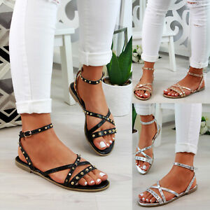 New-Womens-Low-Heel-Sandals-Studs-Strappy-Buckle-Comfy-Holiday-Shoes-Sizes-3-8